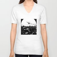 airplane V-neck T-shirts featuring airplane by Anand Brai