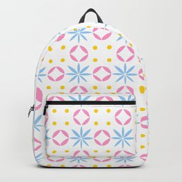 geometric flower 36 blue, pink and yellow Backpack