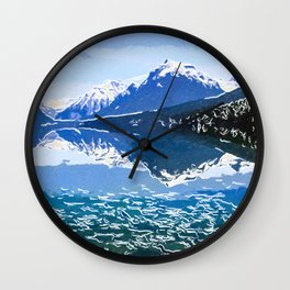 Reflection of Mountains in McDonald lake Wall Clock