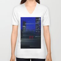 cityscape V-neck T-shirts featuring Cityscape  by eyedoublecross