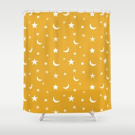 White moon and star pattern on orange background Shower Curtain