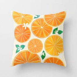 Orange Slices With Blossoms Throw Pillow