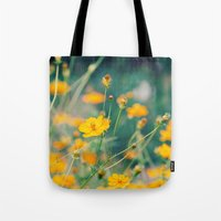 aperture Tote Bags featuring Orange Cosmos by Laura Ruth