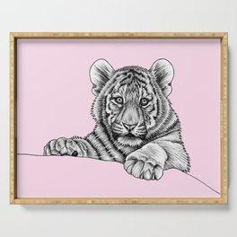 Amur tiger cub - pink Serving Tray