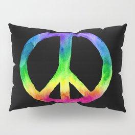 Rainbow Watercolor Peace Sign - Black Background Pillow Sham