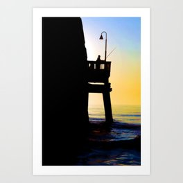Fishing From The Pier In Early Morning Art Print