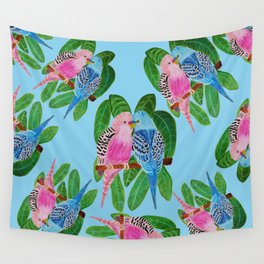 Budgie kiss Wall Tapestry