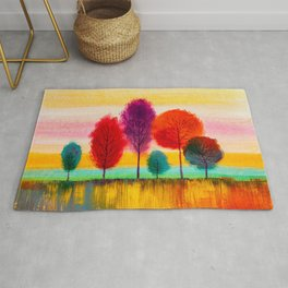 Oil painting colorful trees Rug