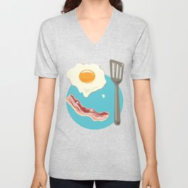 bacon & eggs, blue Unisex V-Neck