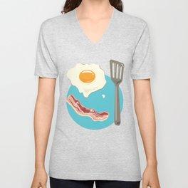 bacon & eggs, blue Unisex V-Neck
