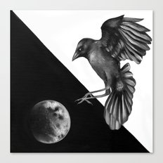 Crow and the Moon 2 Canvas Print