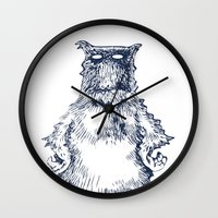 eddie vedder Wall Clocks featuring Eddie Monster by Anna Koleszko