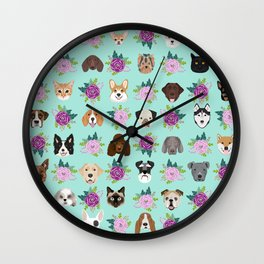 Dogs and cats pet friendly floral animal lover gifts dog breeds cat ladies Wall Clock