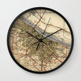 Vintage Map of Jefferson City MO (1939) Wall Clock