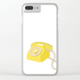 Yellow Vintage Phone // Retro Telephone Illustration Clear iPhone Case