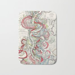 Beautiful Vintage Map of the Mississippi River Bath Mat