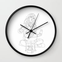 hermione Wall Clocks featuring Hermione by Stina Löf
