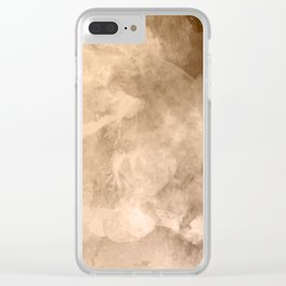 Watercolor Valentine Brown Background Clear iPhone Case