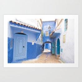 Blue City Street, Morocco Art Print