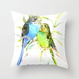 Budgies, love bird green blue decor Throw Pillow