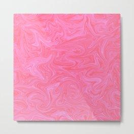 Pink Liquid Marble Metal Print