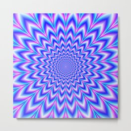 Psychedelic Pulse in Blue and Pink Metal Print