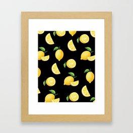 Lemons on Black Framed Art Print