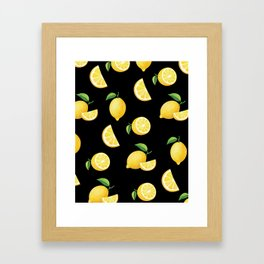 Lemons on Black Framed Art Print