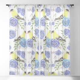 American goldfinch or Spinus tristis bird and roses Sheer Curtain