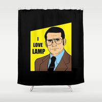will ferrell Shower Curtains featuring I love lamp - Brick Tamland by Buby87