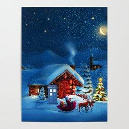 tardis starry night in christmas Poster