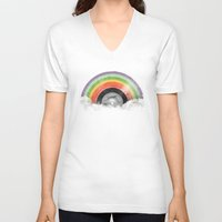 rainbow V-neck T-shirts featuring Rainbow Classics by Florent Bodart / Speakerine