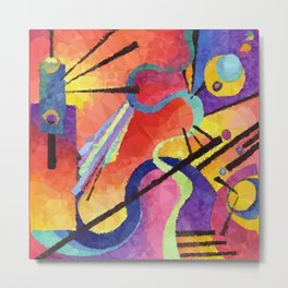 Modern Abstract Low Poly Geometric Triangles After Kandinsky Metal Print