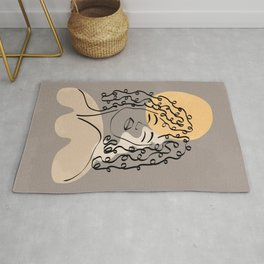 Minimalist line art of a female face with long curly hair, minimal lines and shapes art Rug