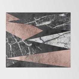 Elegant Modern Marble, Rose Gold, & Black Foil Triangles Throw Blanket