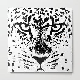 Black and White Leopard Big Wild Cat Metal Print