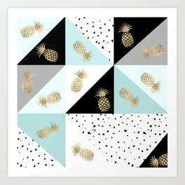 Pastel color block watercolor dots faux gold pineapple Art Print