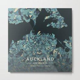 Auckland, New Zealand - Cream Blue Metal Print