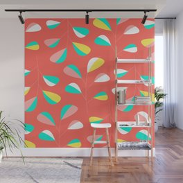 Mid Century Modern Living Coral Leaf Pattern Wall Mural