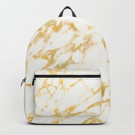 Ivory White Marble With Gold Glitter Ribboned Veins Backpack