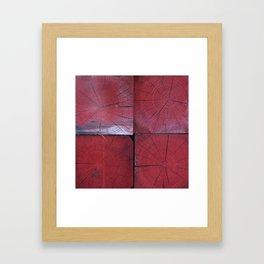4 red wooden blocks Framed Art Print