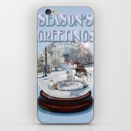 Blue Christmas Greeting Card iPhone Skin