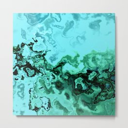TURQUOISE GEODE ABSTRACT Metal Print