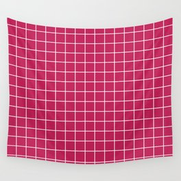 Rose red - violet color - White Lines Grid Pattern Wall Tapestry