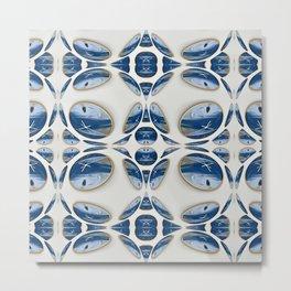 Snowblue Clock Pattern 2 Metal Print