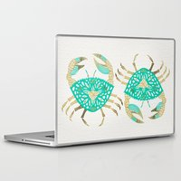 crab Laptop & iPad Skins featuring Crab – Turquoise & Gold by Cat Coquillette