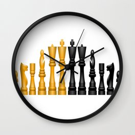 Check Mate / Black / Gold Chess Pieces Wall Clock