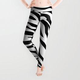 modern safari animal print black and white zebra stripes Leggings