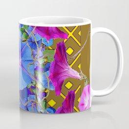 Nut Brown  Pink-Purple-Blue Morning Glory Abstract Coffee Mug