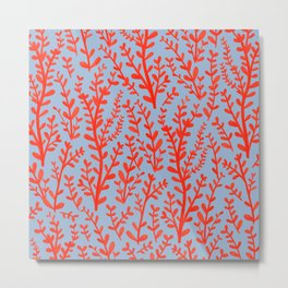 Pale Blue and Red Leaves Hand-Painted Pattern Metal Print